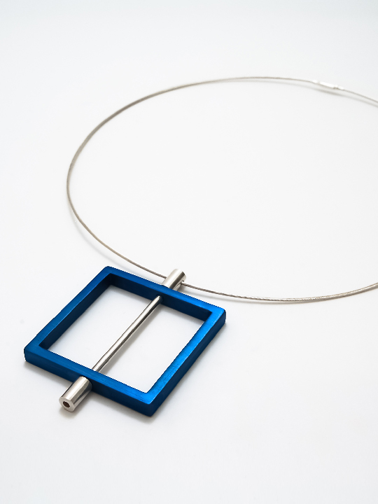 aluminium and silver pendant - square